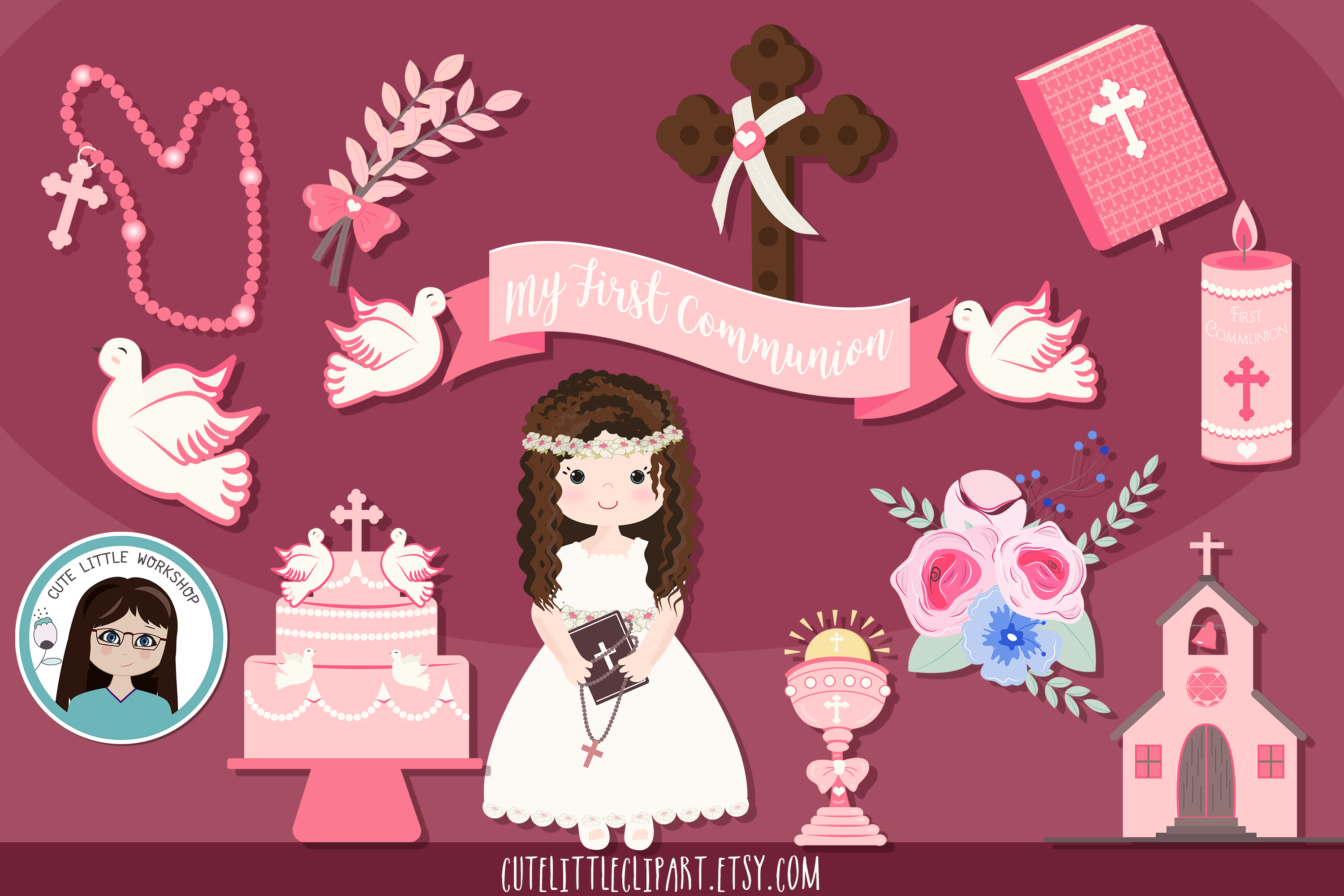 First Holy Communion Girl clipart bundle Aquamarine communio example image 1