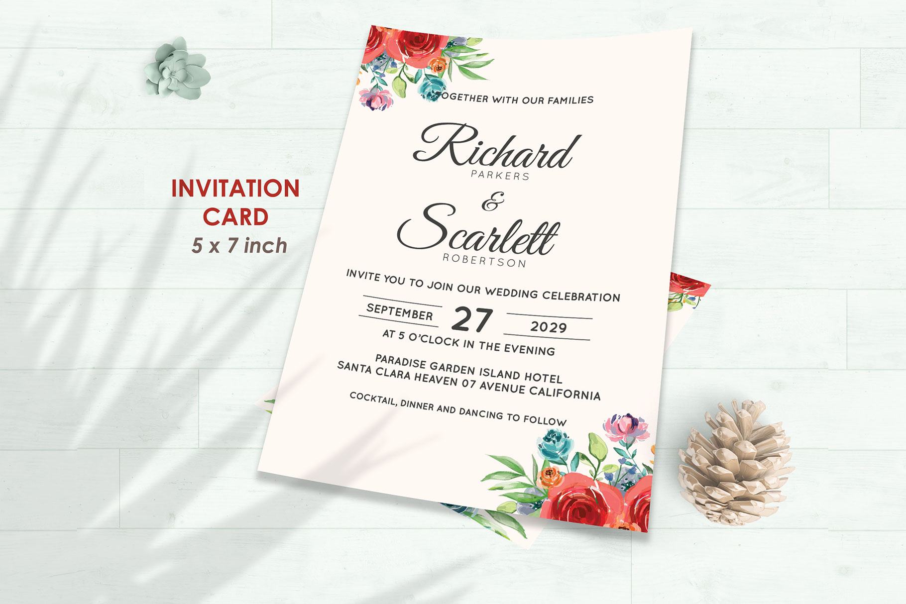 Wedding Invitation Set #4 Watercolor Floral Flower Style example image 2