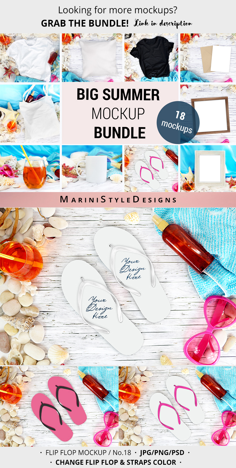 Summer Beach Flip Flop mockup, craft mockup PSD & PNG, 966 example image 4