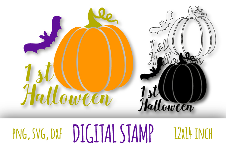 1st Halloween svg. Pumpkin and bat clipart example image 1