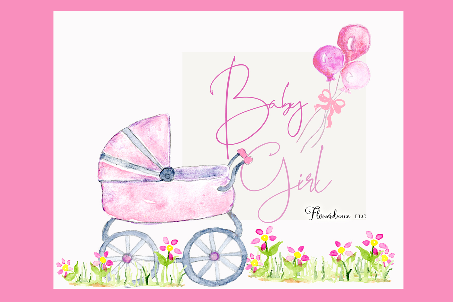 Watercolor Baby Girl Clipart example image 2