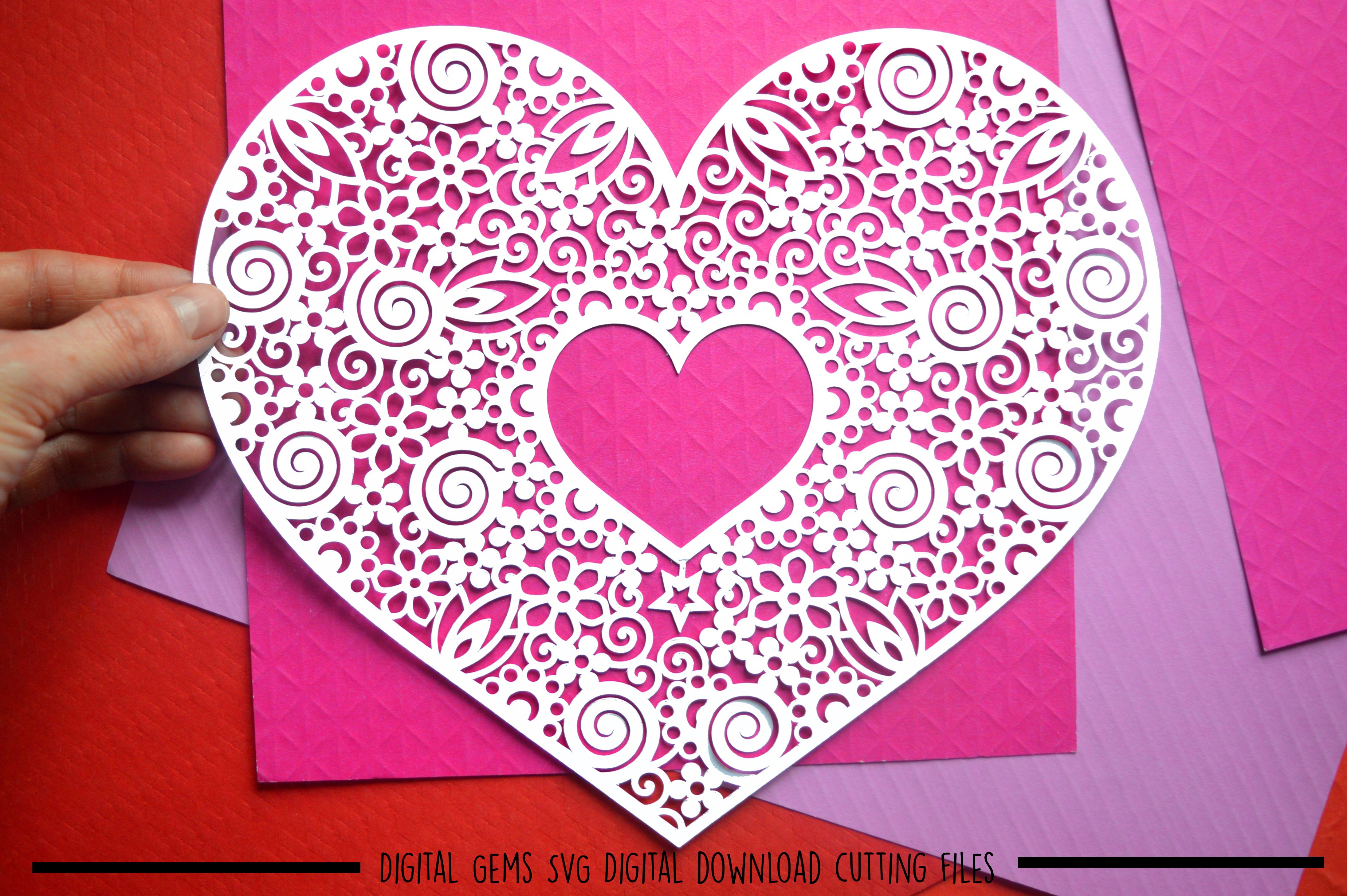 Heart paper cut SVG / DXF / EPS files example image 2