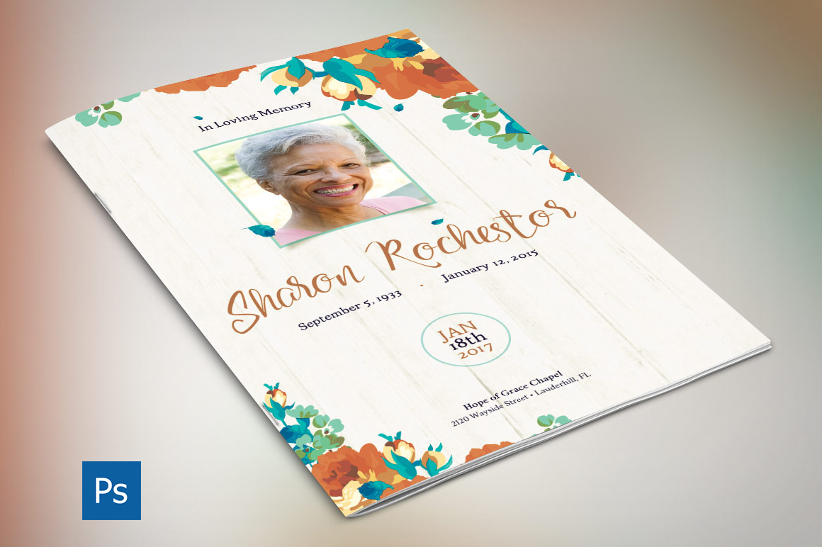 Autumn Floral Funeral Program Template example image 2