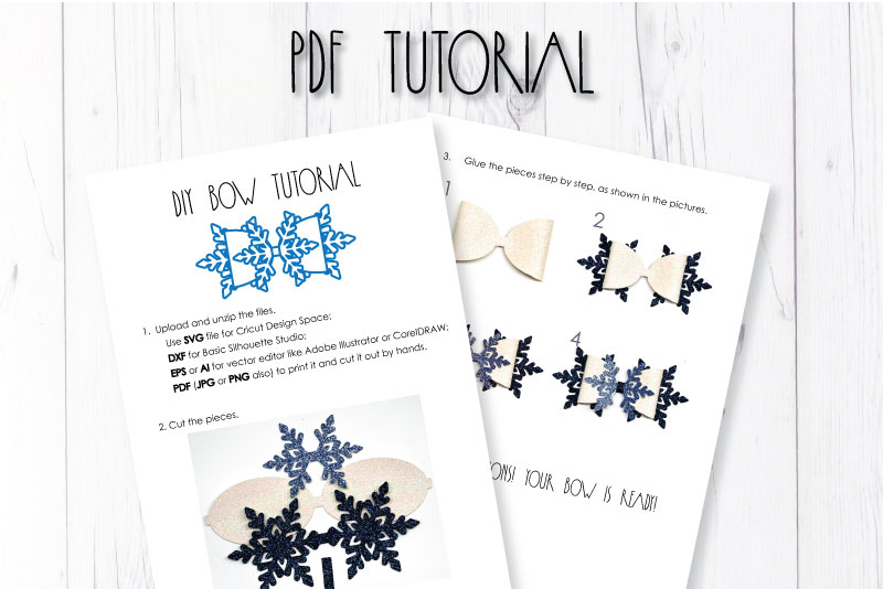 Snowflake Hair bow template SVG, DIY leather bow template example image 3