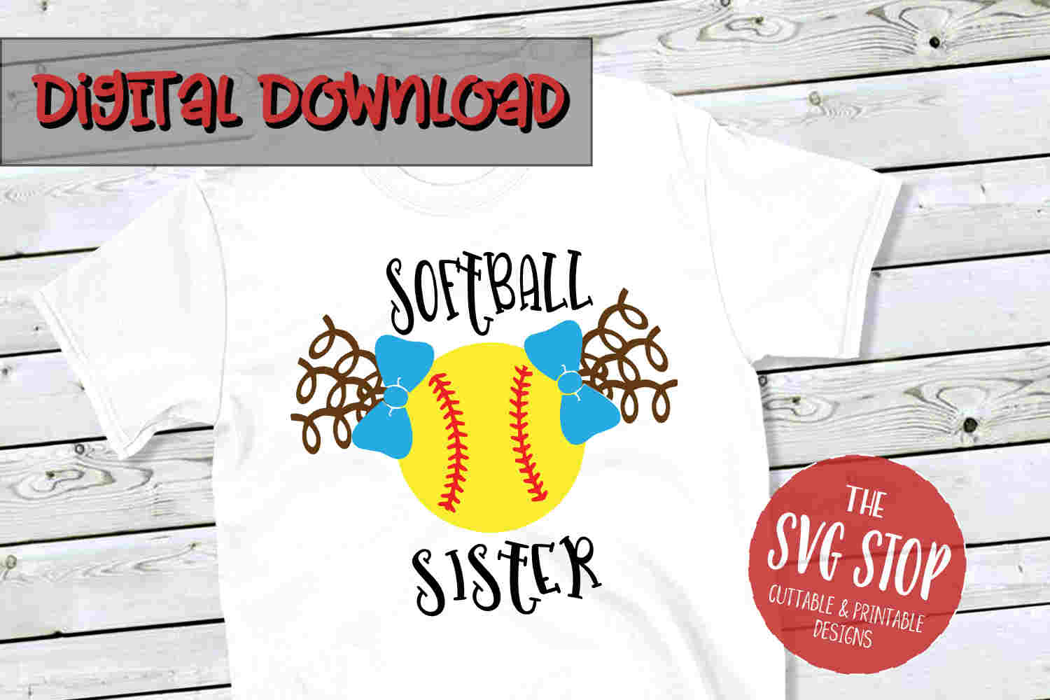 Softball Sister 2-SVG, PNG, DXF example image 1