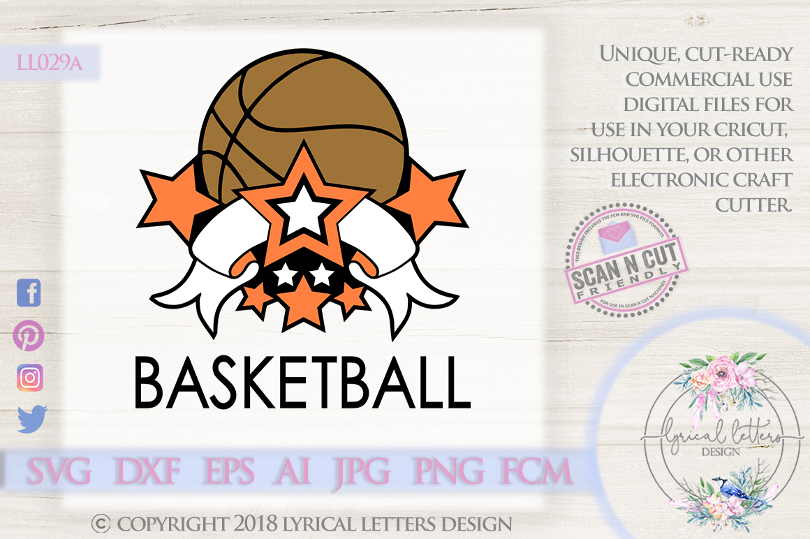 Basketball Sports Banner with Stars SVG DXF FCM LL029A example image 1