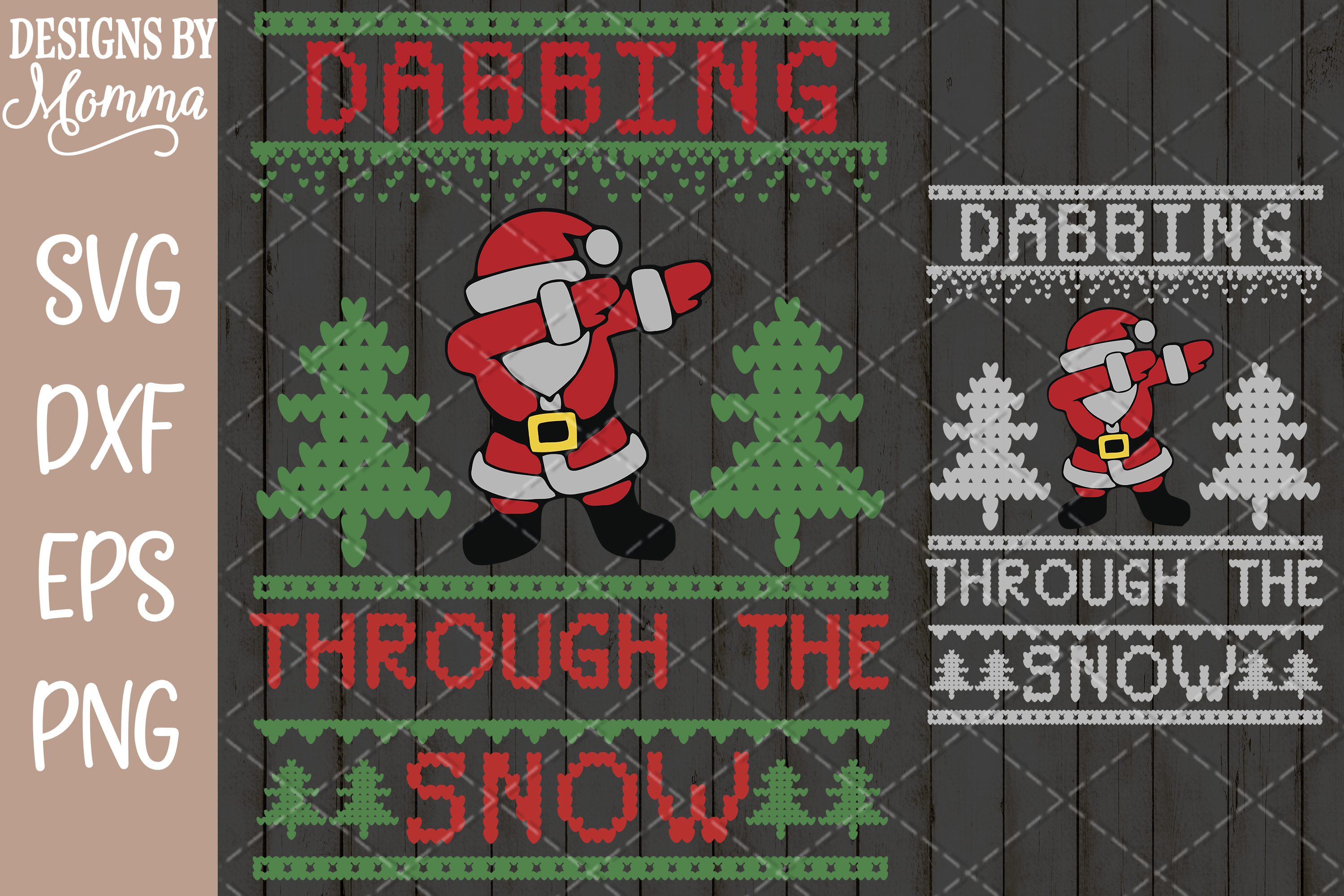 Dabbing through the Snow Santa Ugly Sweater SVG example image 1