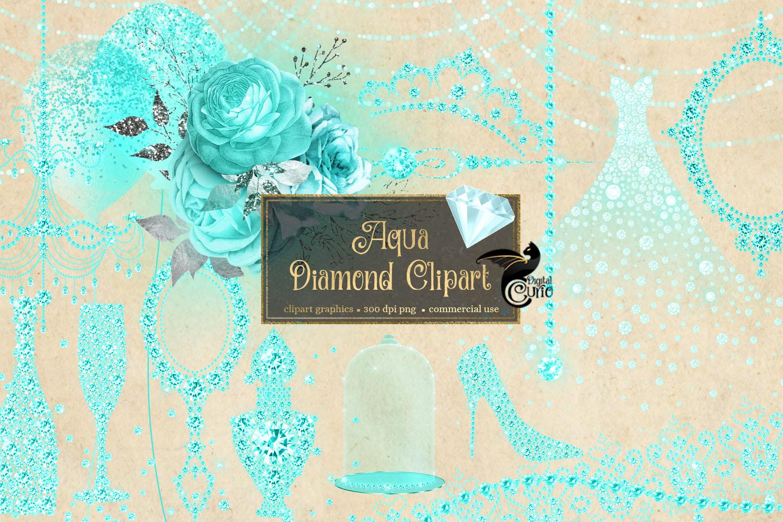 Aqua Diamond Clipart example image 2