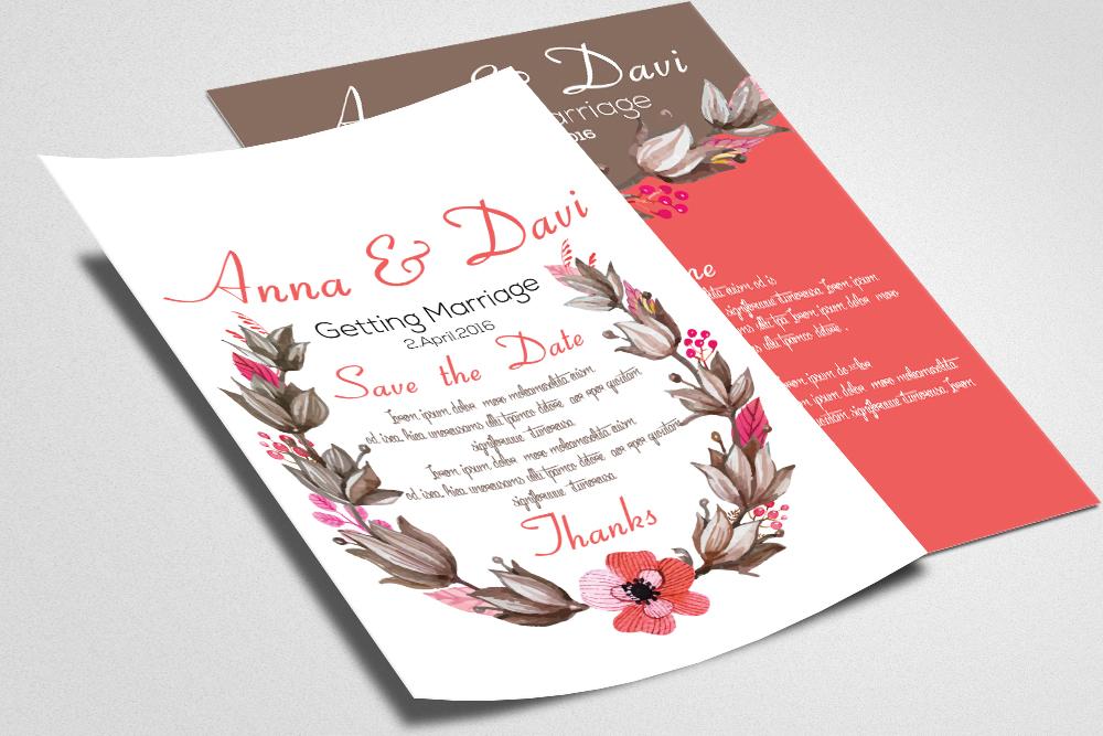 Wedding Double sided Invitation Cards example image 2