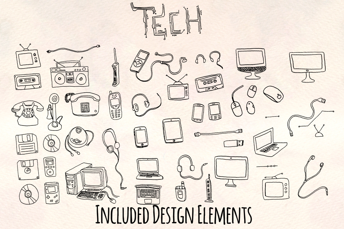 50 Hand Drawn Retro Technology Computer Graphics example image 2
