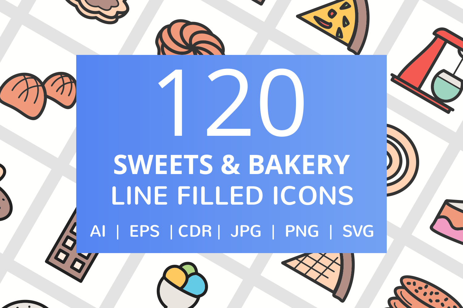 120 Sweets & Bakery Filled Line Icons example image 1