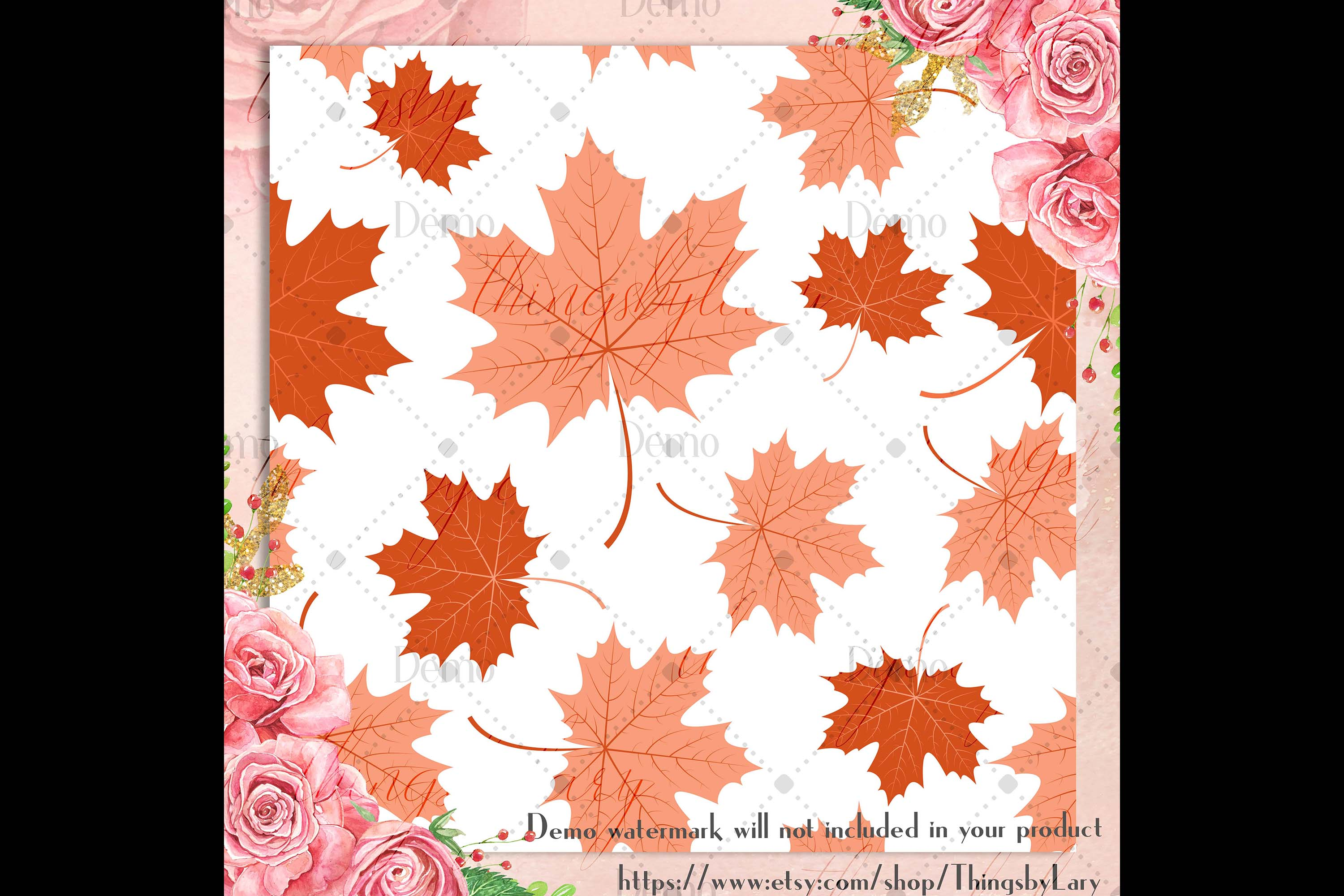 100 Seamless Color Autumn Leaves Pattern Digital Papers example image 2