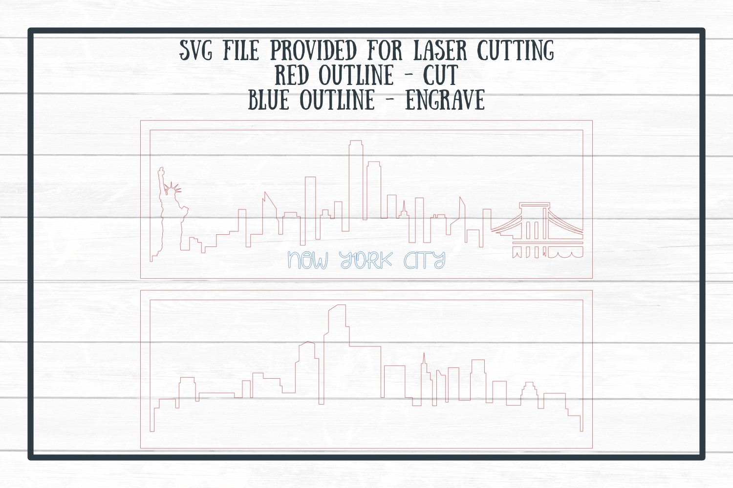 New York City Layered Skyline SVG Cut File for Crafters example image 4