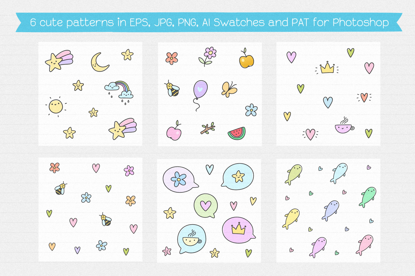 Cute Creatures Vector Set example image 6