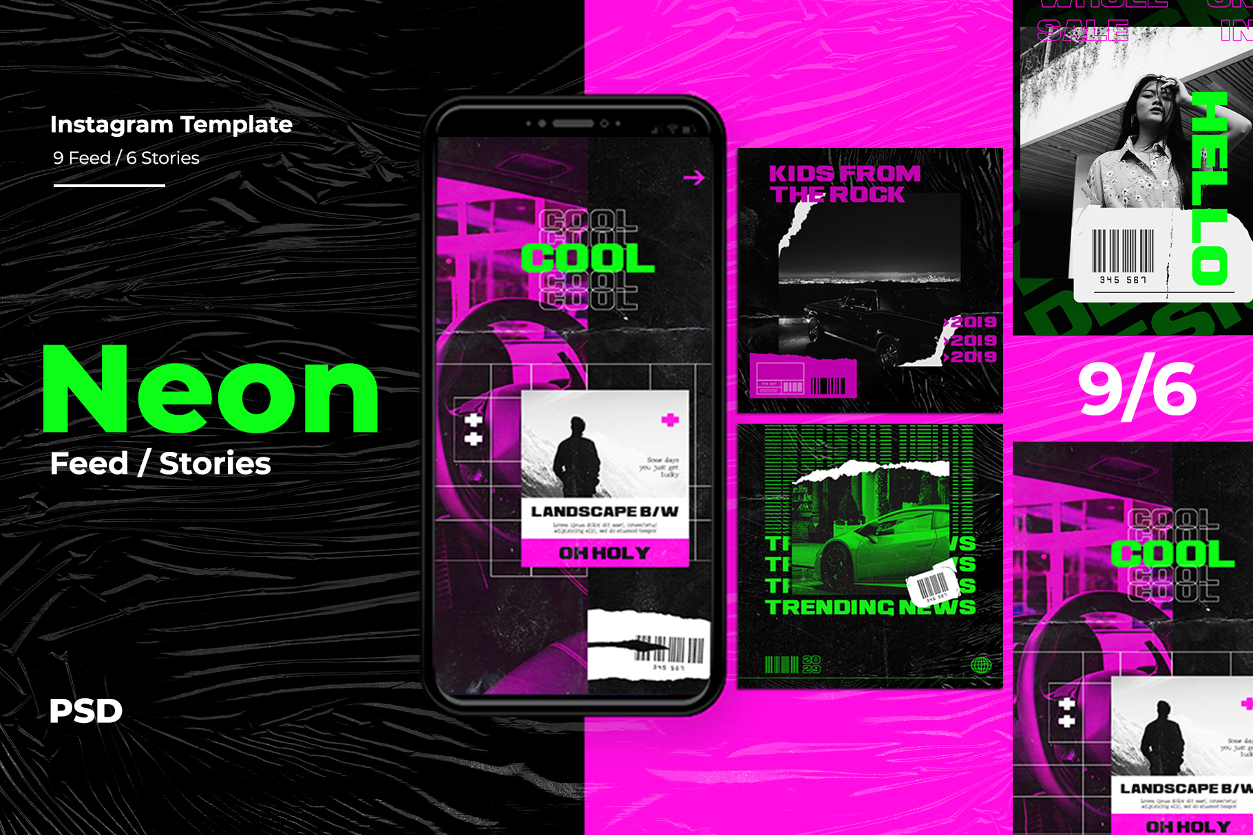 Neon Instagram Templates example image 1