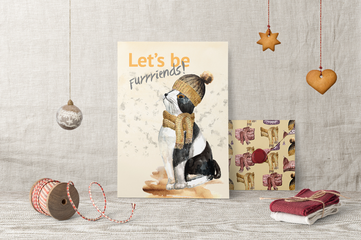 Warm Winter Kitties - watercolor example image 5