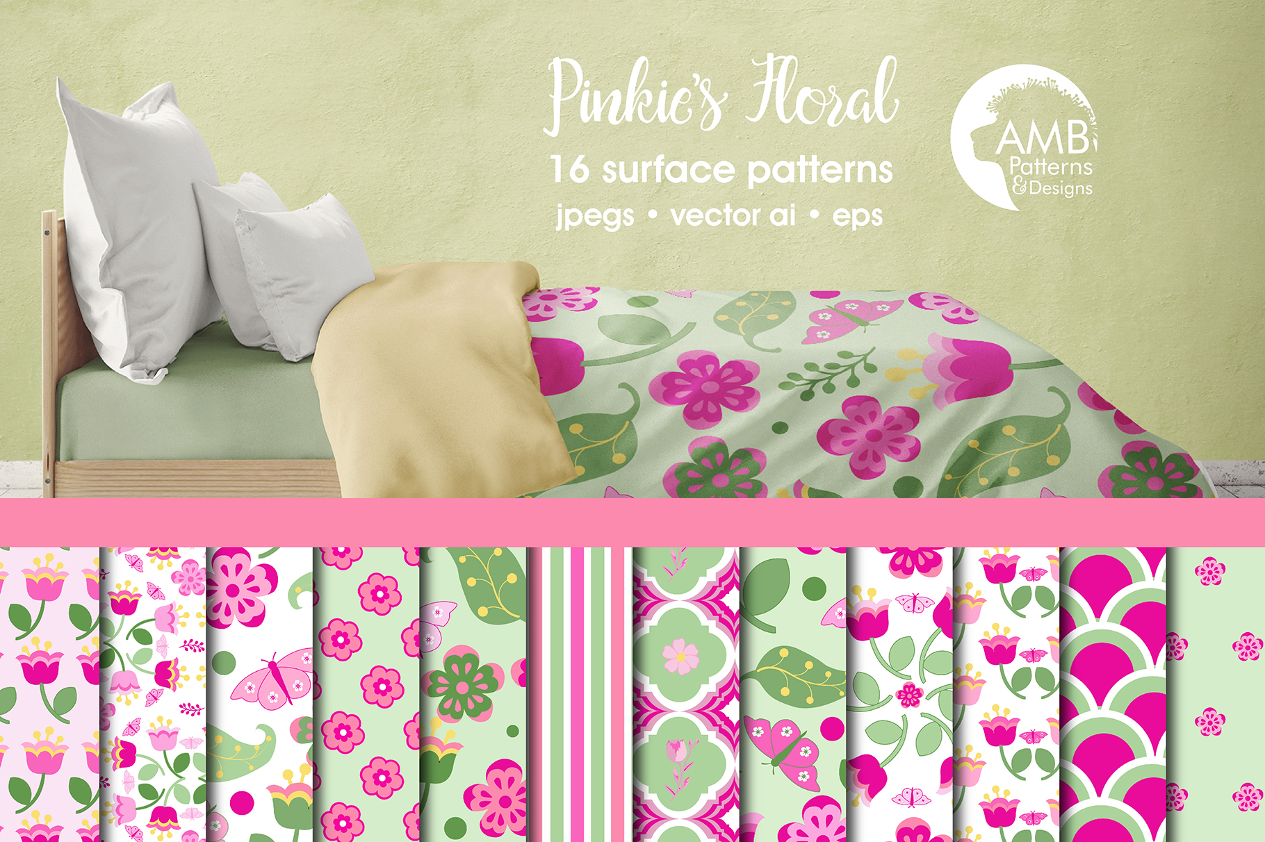 Pinkies Floral Patterns Pink Floral Papers Amb 1410