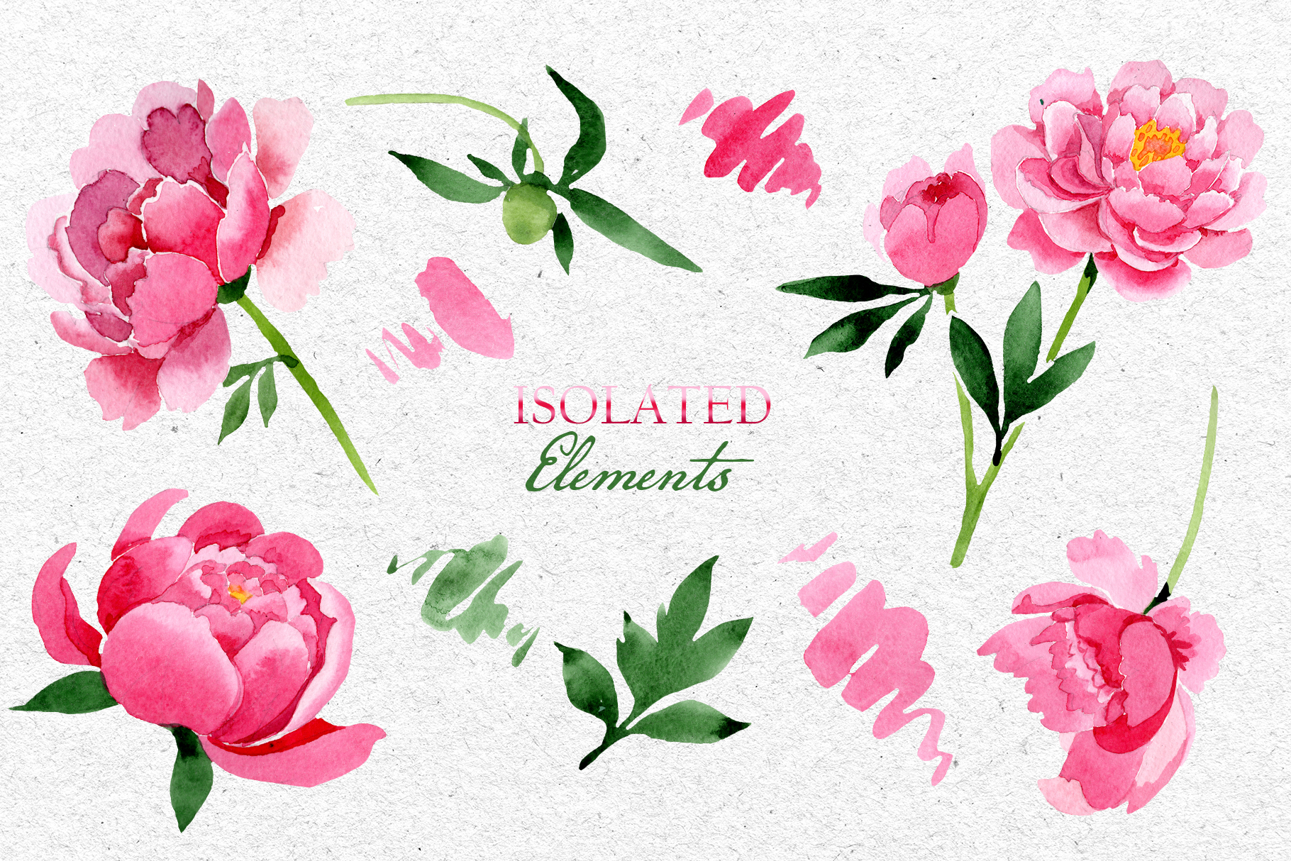 Bouquet of pink peony moment of joy watercolor png example image 8
