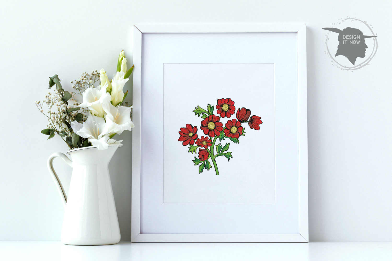 Botanical Art, Flower Embroidery Design, Plant Embroidery example image 4