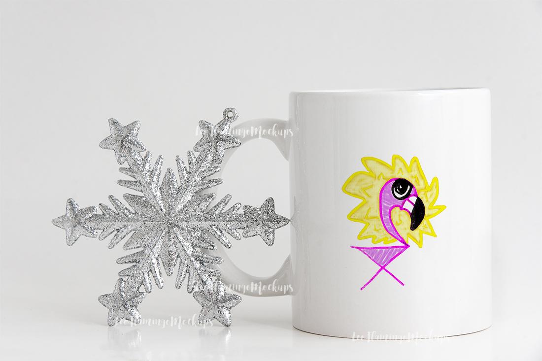 Winter white coffee mug mock up minimal  example image 5