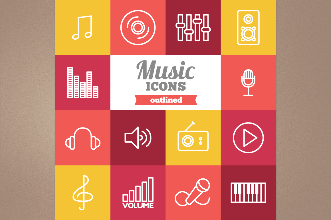 Outlined Music Icons example image 1