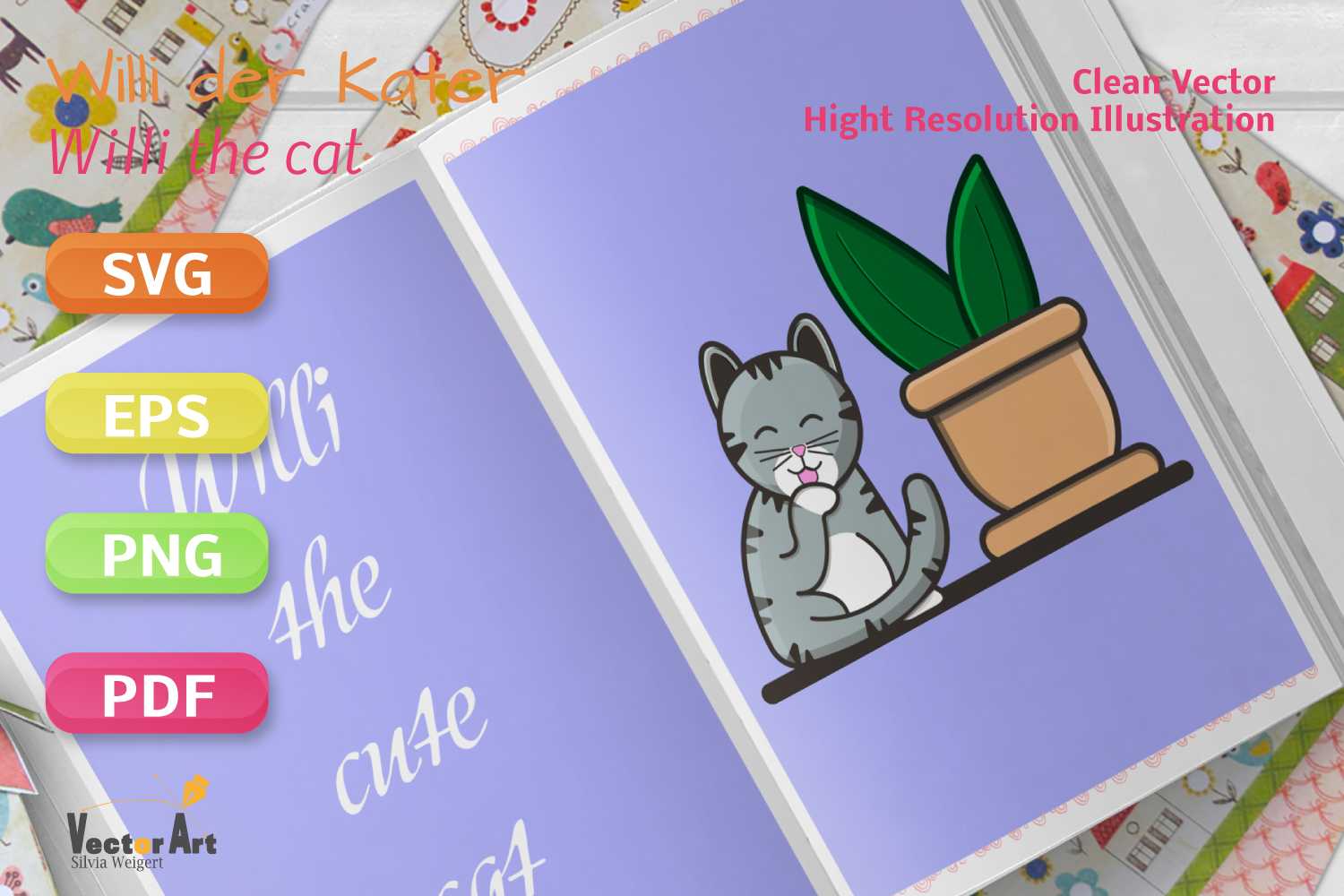 Cat licking his Paw - File for Crafters example image 2