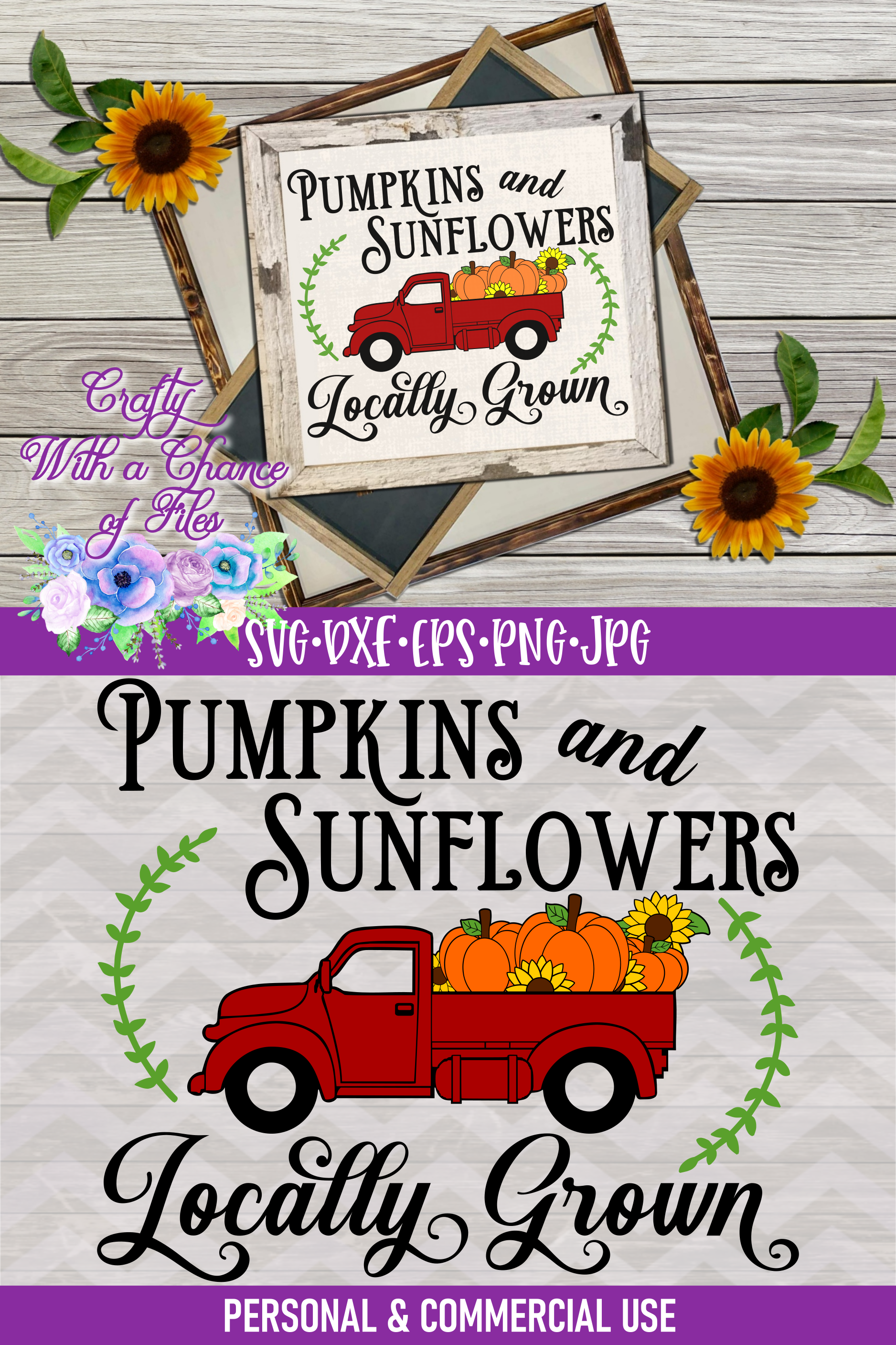 Pumpkins & Sunflowers Locally Grown SVG | Fall Truck SVG example image 4