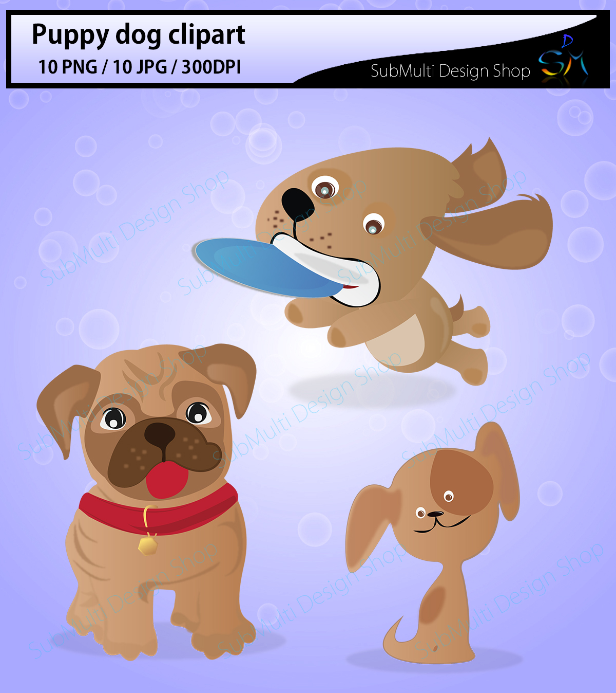 puppy dog clipart / Digital Clip Art for Scrapbooking Card Making Cupcake Toppers Paper Crafts / doodle dogs / puppy doodles / cute dogs example image 3