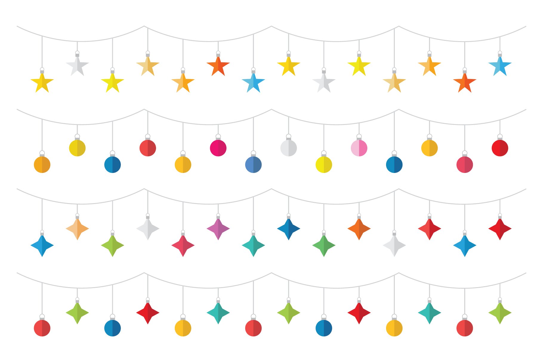 Colorful Christmas Tree Party Clip Art Set example image 4