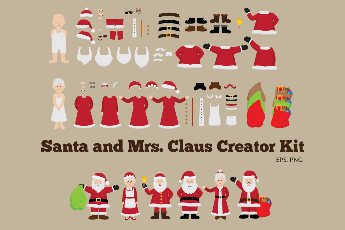 Santa and Mrs Claus Creator Kit Clipart example image 1