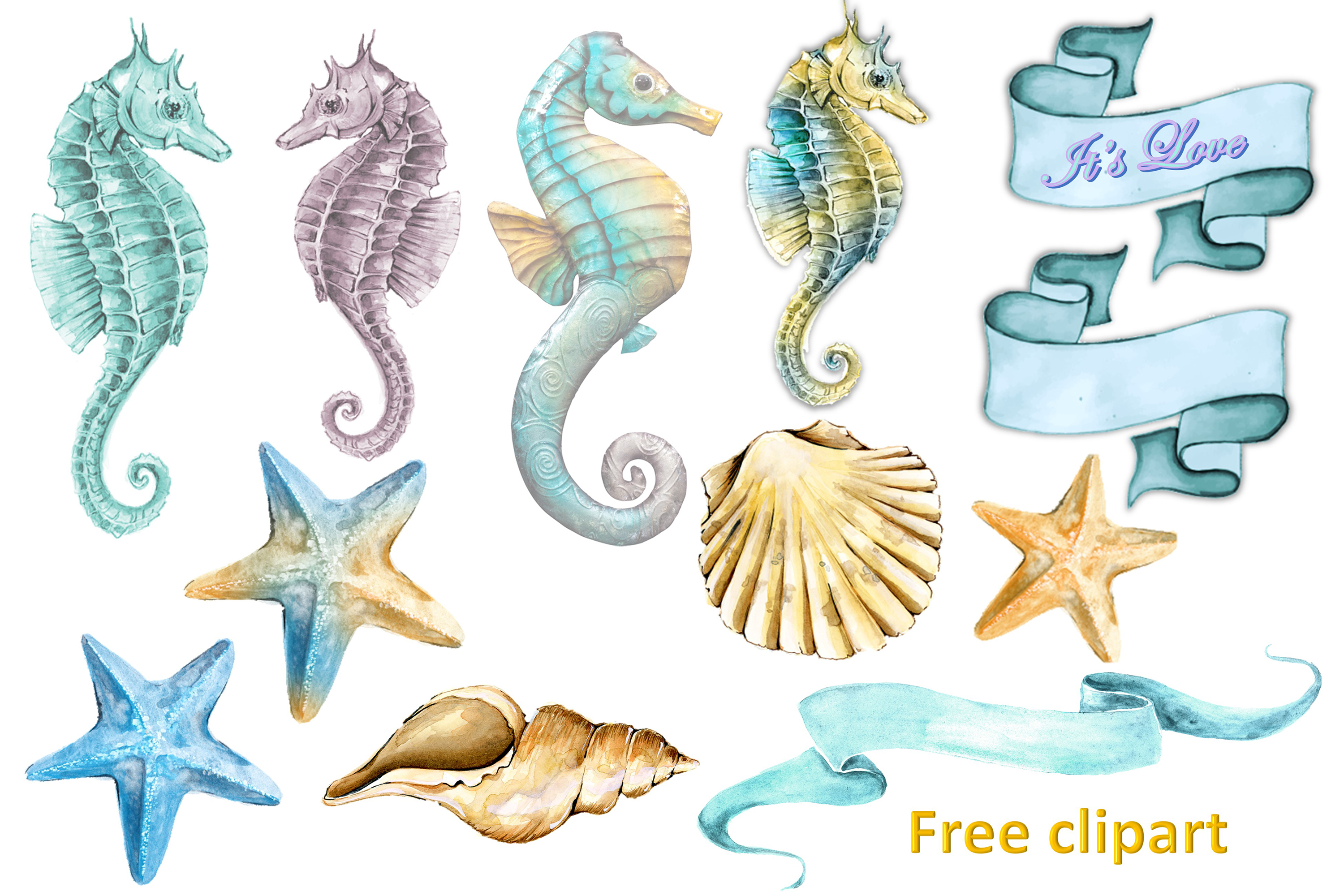 Seahorses Journaling pages FREE Clipart and Ephemera example image 6