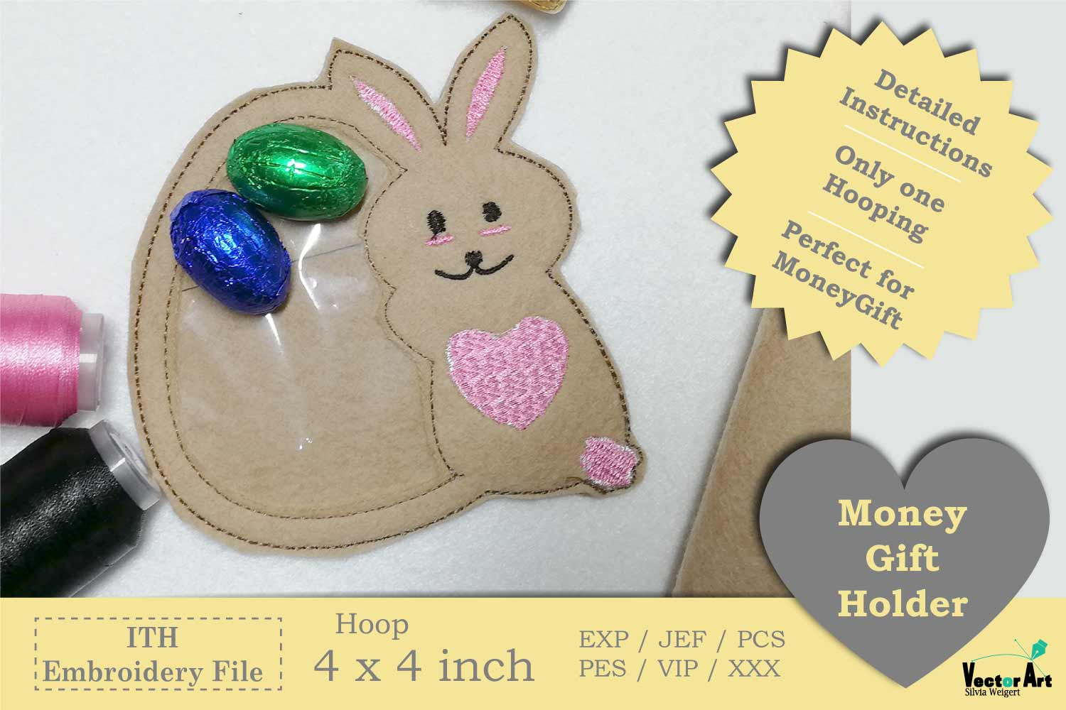 ITH - Bunny with Egg - Great Idea for Money Gifts example image 1