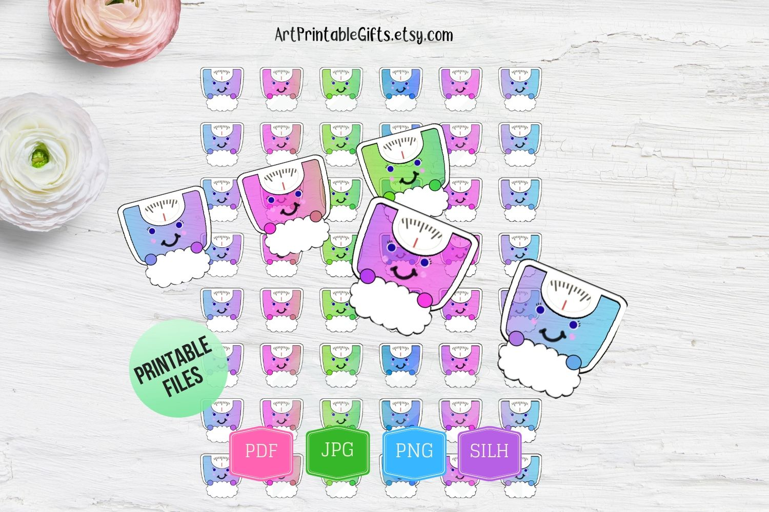 Weight Scale Printable Planner Stickers Scale stickers print example image 1
