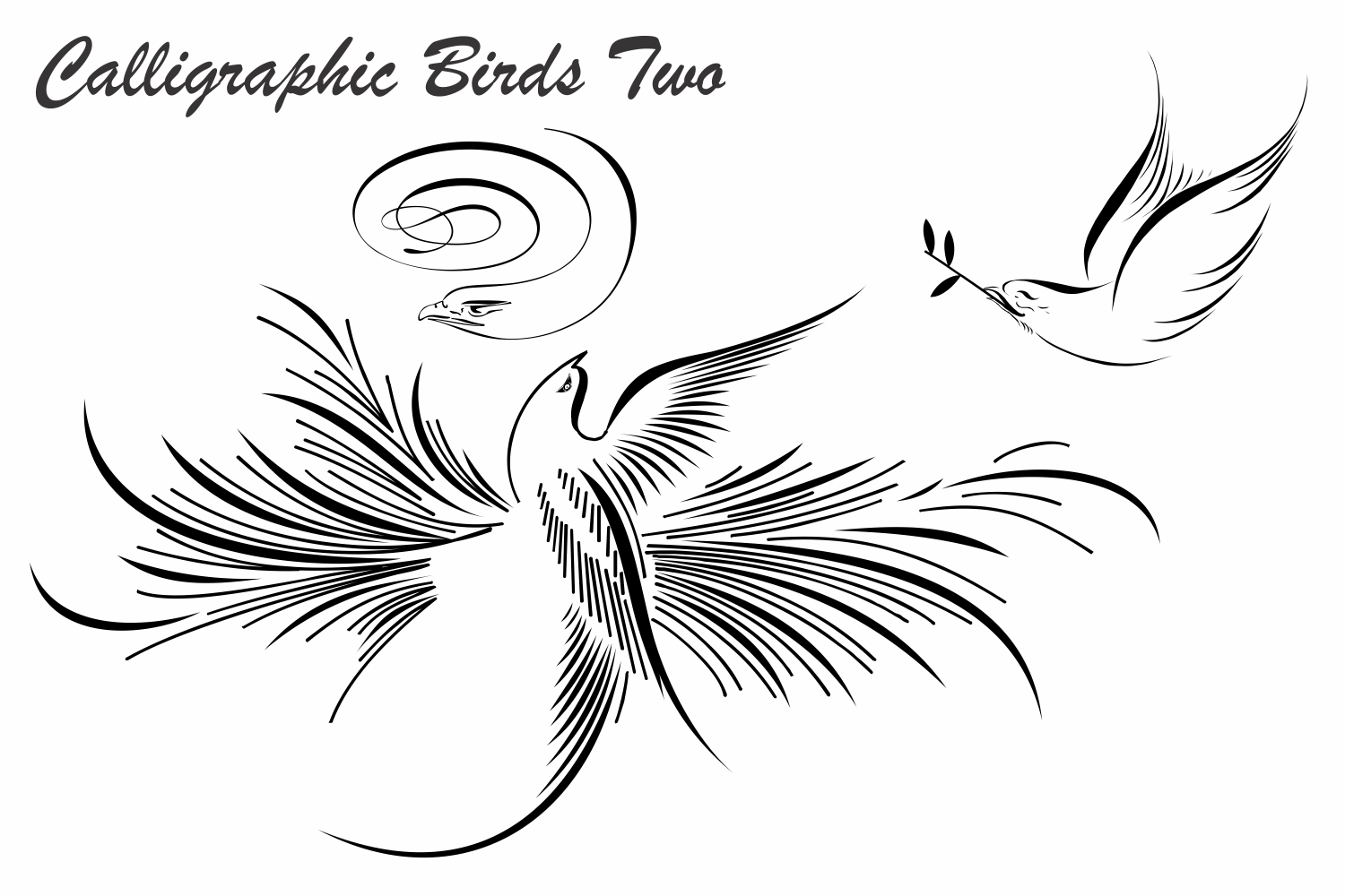 Calligraphic Birds Two example image 4