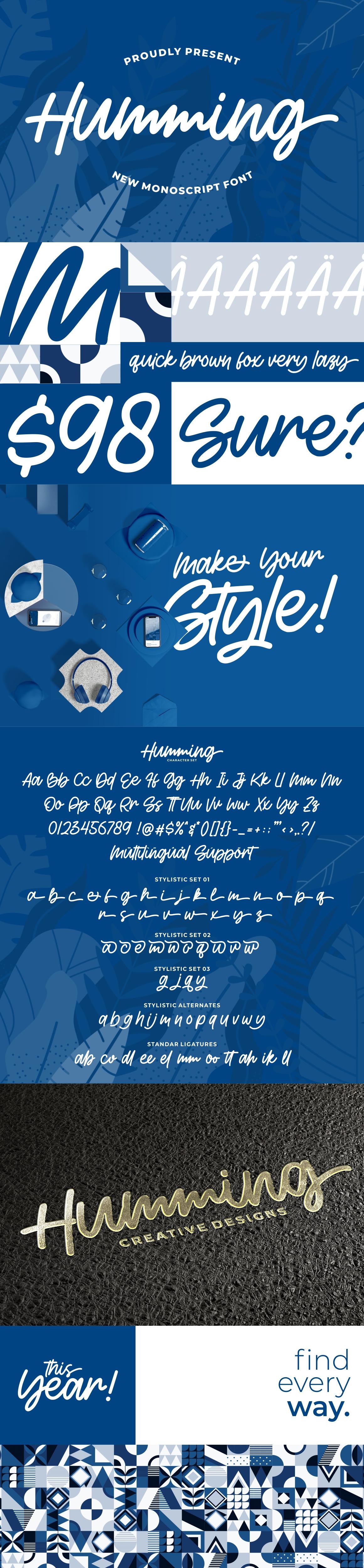 Humming - Monoscript Font example image 11