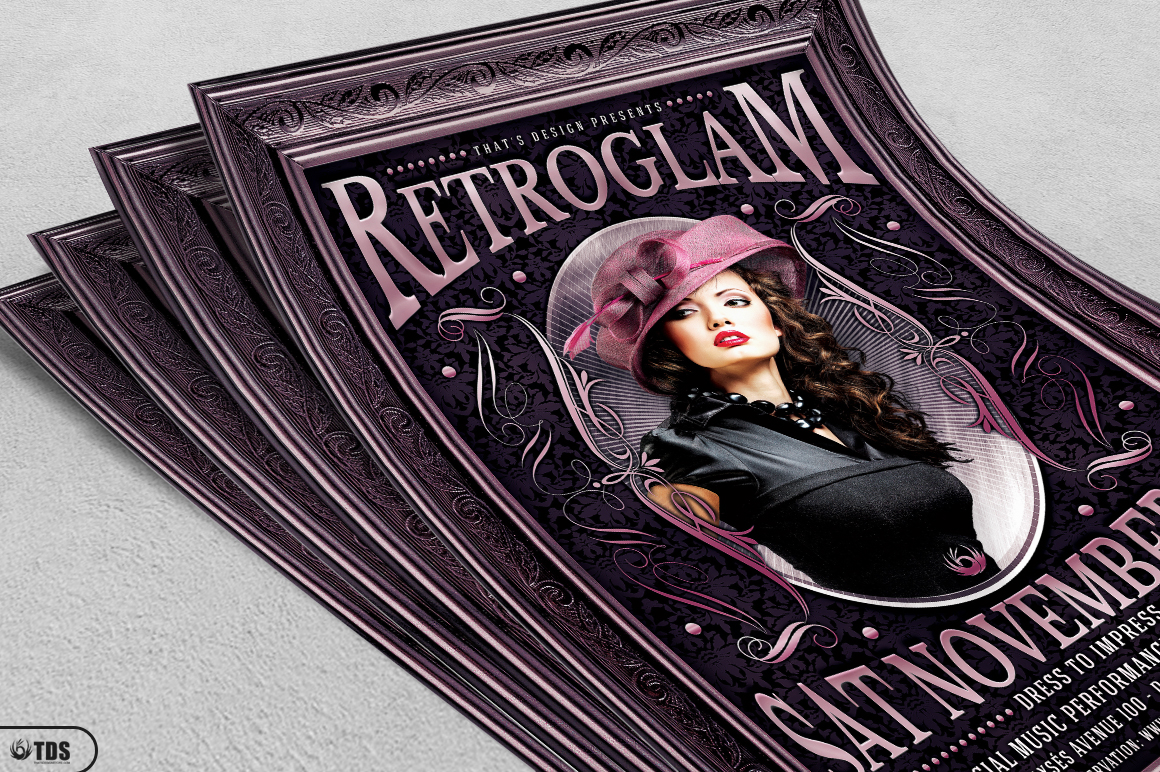 Retro Glam Flyer Template V3  example image 3