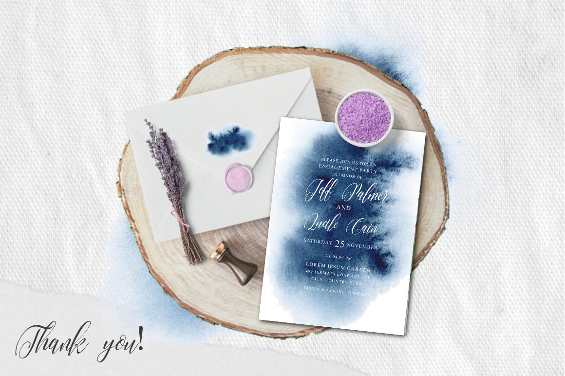 Indigo Watercolor Wedding Invitation suite example image 2