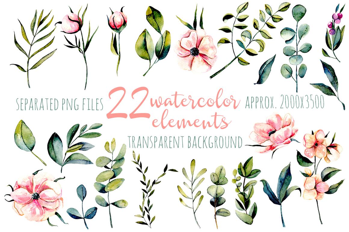 Eucalyptus watercolor clipart example image 3