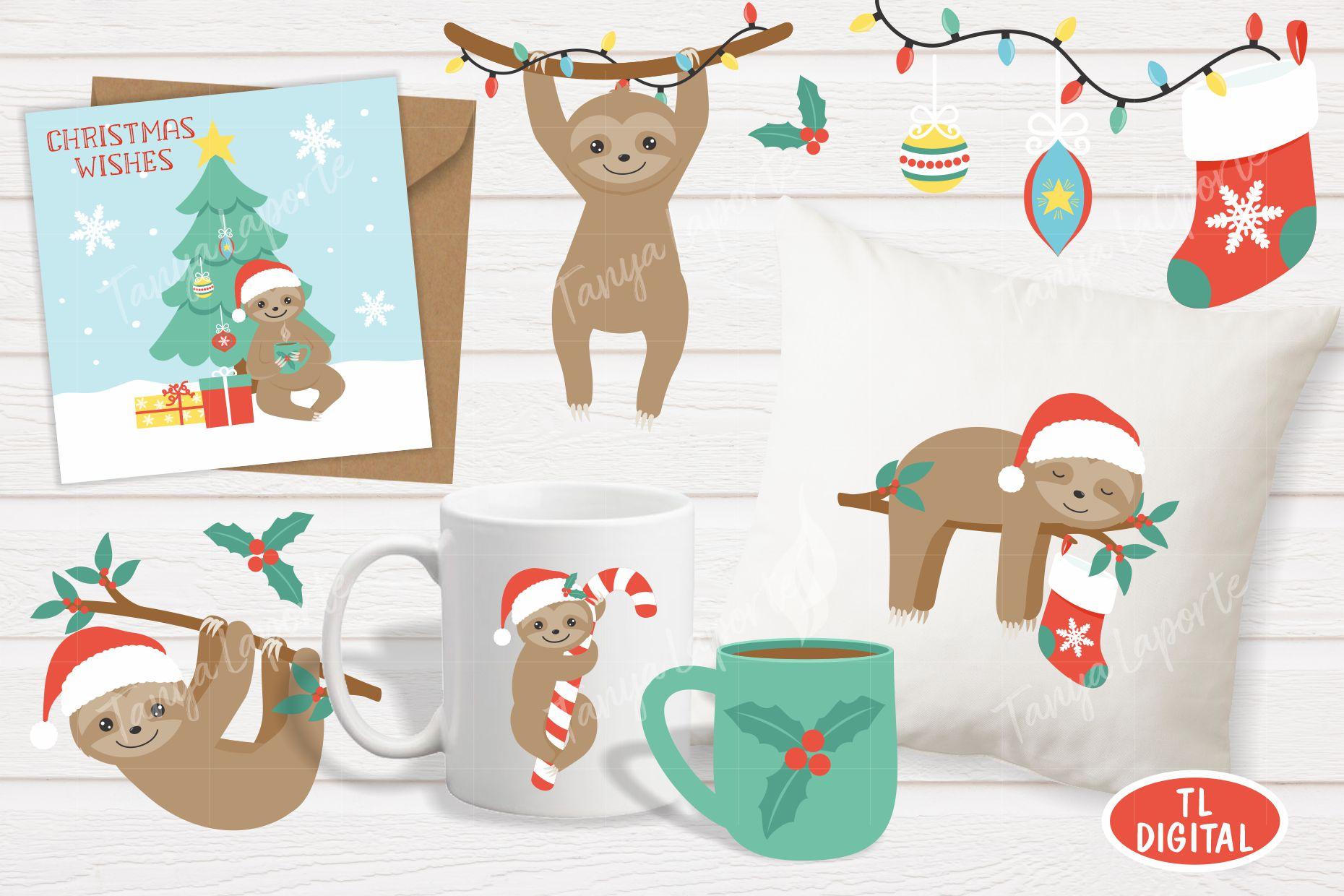 Sloth Christmas Clipart Set - 21 Christmas Graphics example image 2