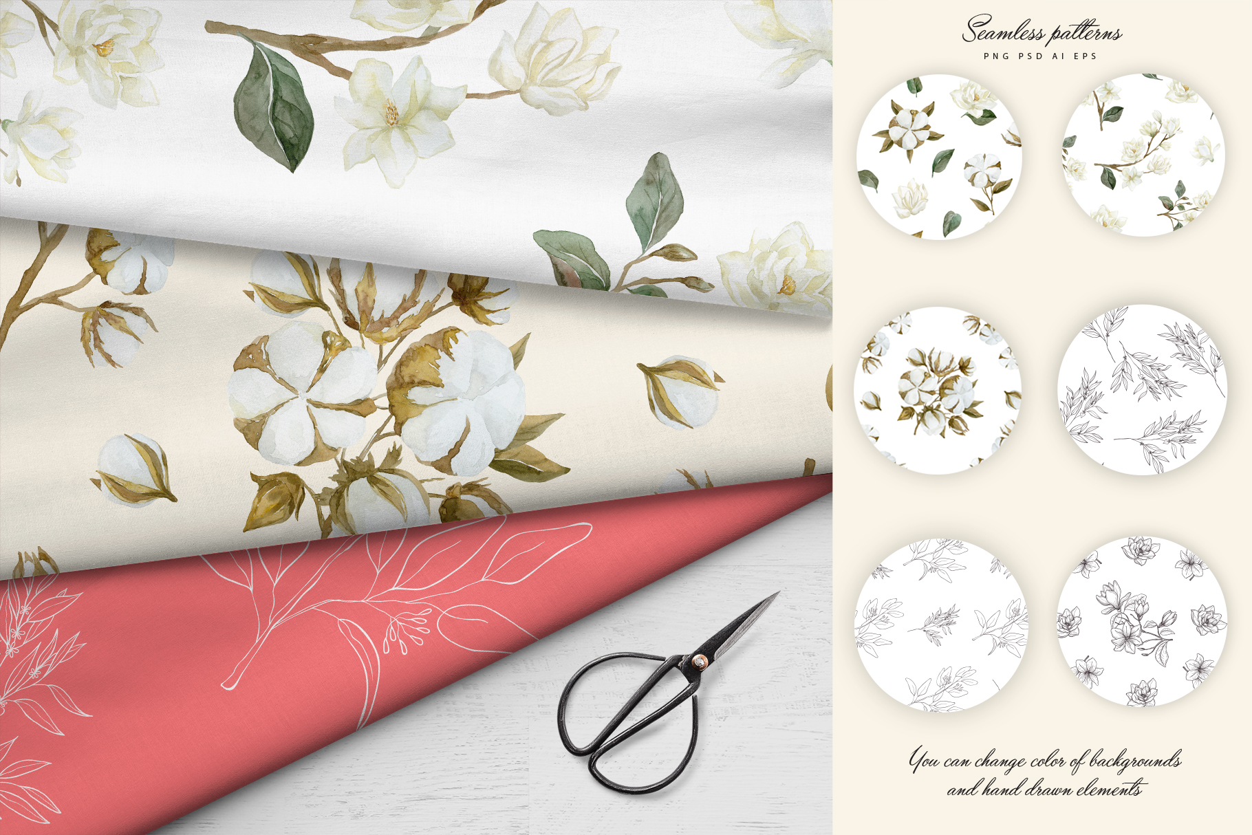 White Magnolia and Cotton. Trendy Greenery example image 14