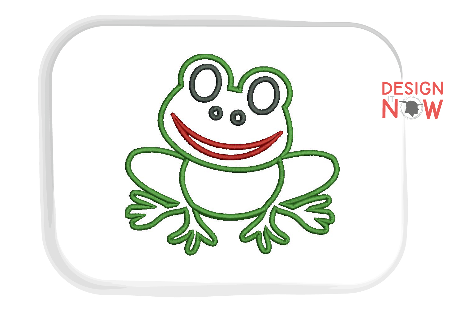 Frog Applique Embroidery Design, Embroidery Pattern example image 5