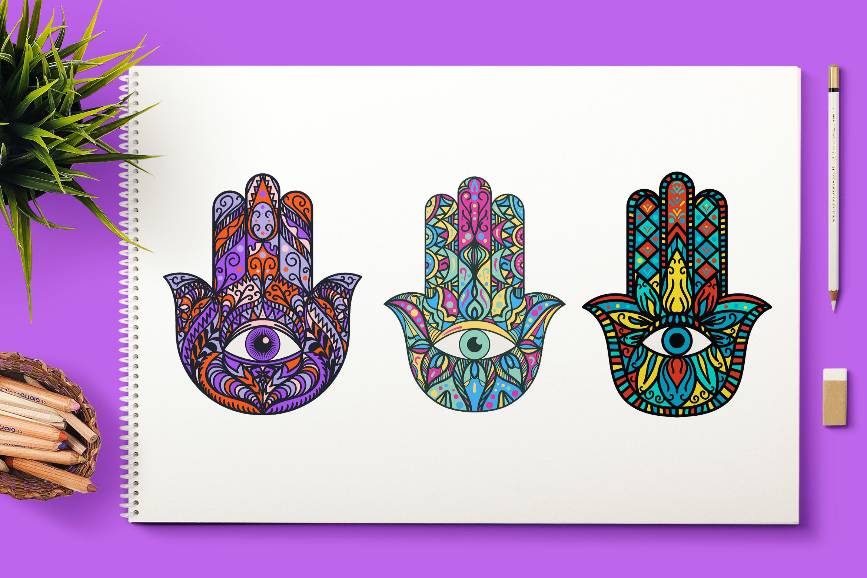 Bright Hamsa Hands Cliparts Set example image 1