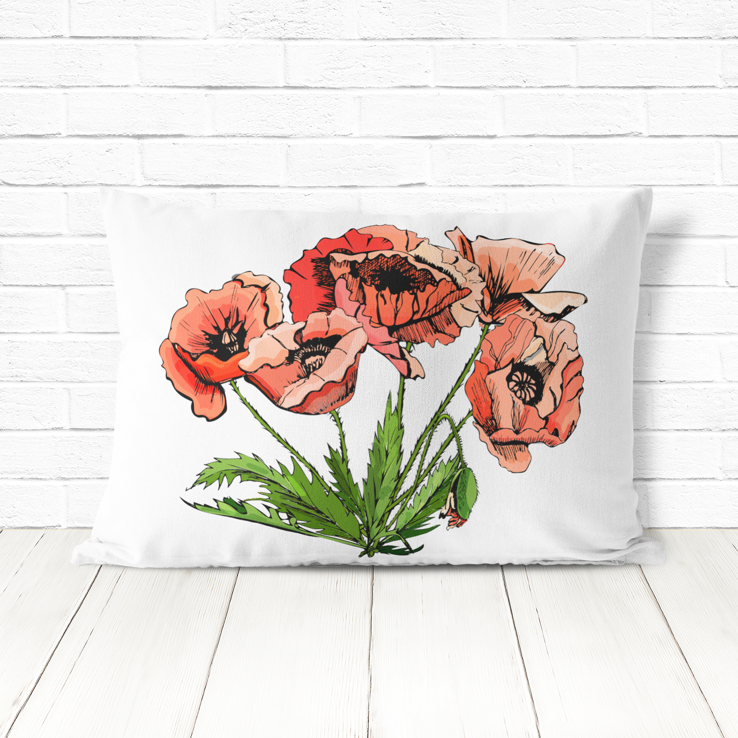 Bundle with sketches of poppy flowers. Modern and retro style.  example image 8