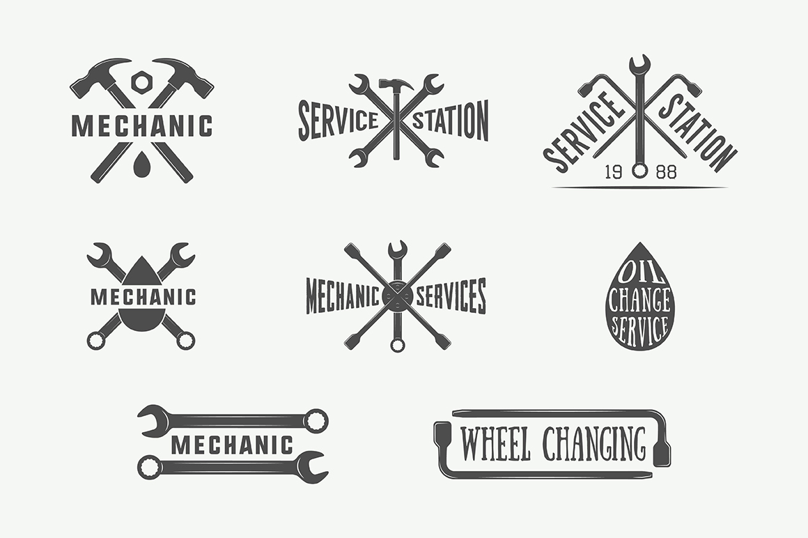 Mechanic and Car Repair Emblems Bundle example image 12