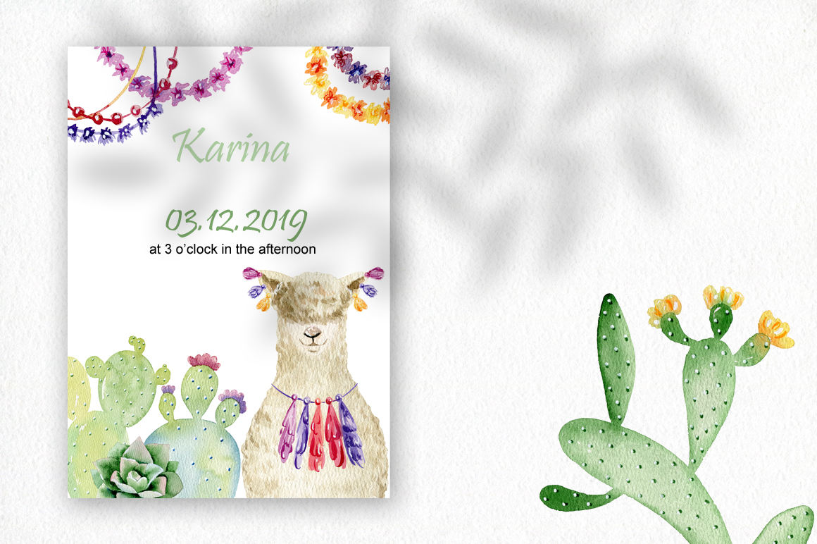 Watercolor llamas. Kit. example image 9