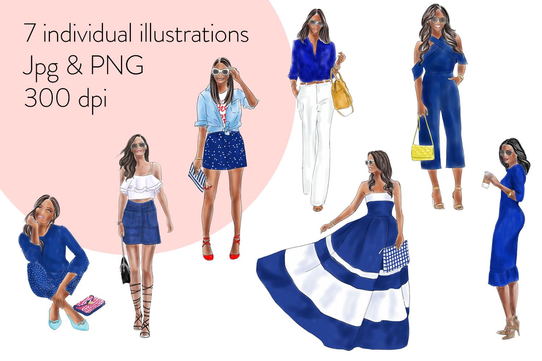 Fashion illustration clipart - Girls in Blue - Dark skin example image 2