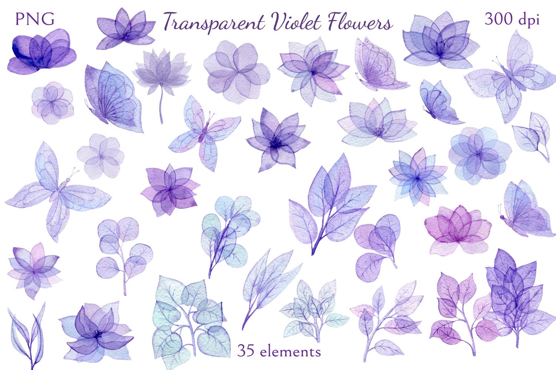 Transparent Violet Flowers example image 2