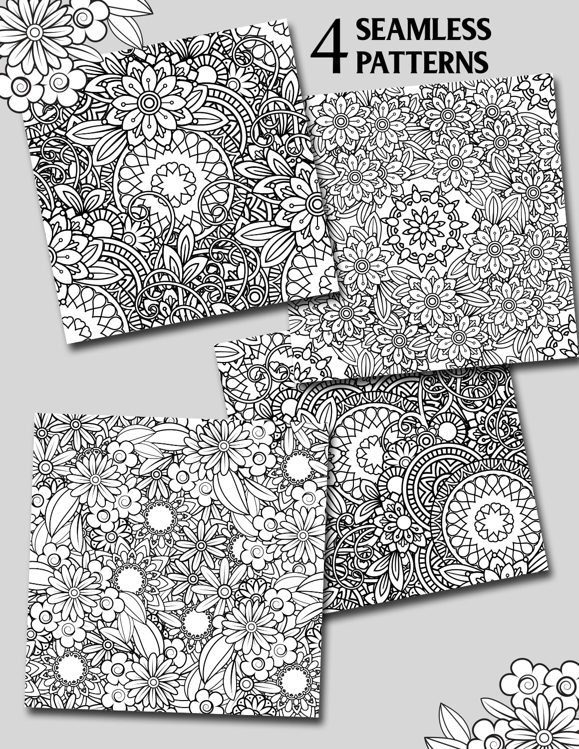 Floral Seamless Patterns example image 5
