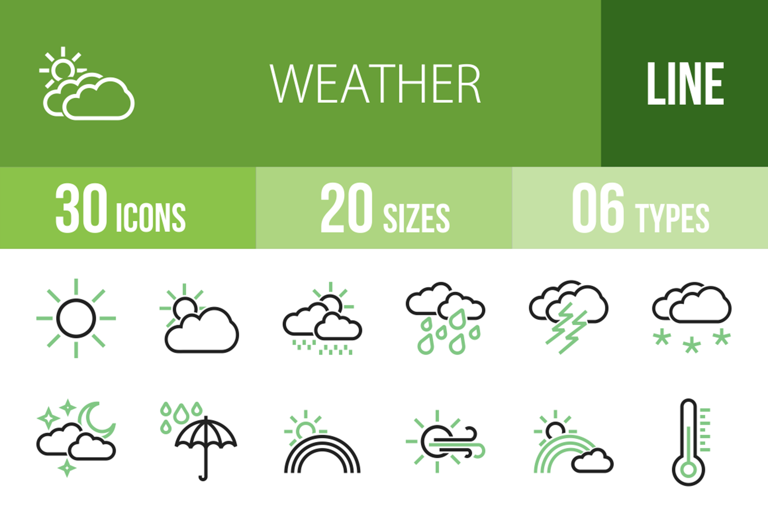 30 Weather Line Green & Black Icons example image 1
