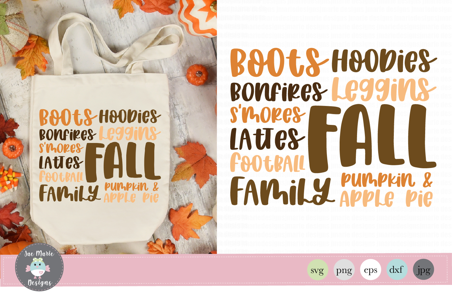 Fall svg, cute fall cut files, fall word list, thanksgiving example image 1